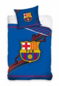 Lenjerie pat copii bumbac cu echipe fotbal FC Barcelona 160 x 200 cm
