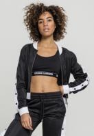 Bluza de trening cu nasturi pentru Femei negru-alb Urban Classics