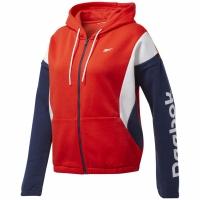 Bluza de trening Reebok antrenament Essentials Linear Logo FL Fullzip rosu-bleumarin-alb FT0904 pentru femei