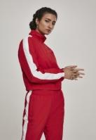 Bluza de trening Short cu dungi Crinkle pentru Femei rosu-alb Urban Classics