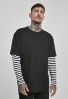 Bluza maneca lunga supradimensionat cu 2 straturi cu dungi negru Urban Classics