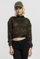 Bluza pe gat imprimeu camo pentru Femei oliv-camuflaj Urban Classics