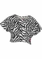 Tricouri cu maneca scurta bumbac si imprimeu zebra alb-negru Urban Dance