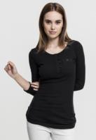 Bluze casual cu nasturi si cu buzunar la piept pentru Femei negru Urban Classics