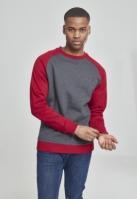 Bluze cu guler round doua culori gri carbune-rubin Urban Classics