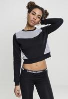 Bluze scurte cu maneca lunga terry negru-alb Urban Classics