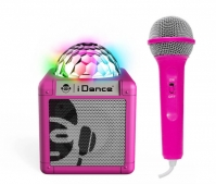 Boxa Bluetooth Cu Lumini Disco Si Microfon Cube Idance Roz
