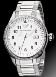 Bratari Ceas Emporio Armani Mod clasic, Ss Case And , Date, Silver Dial, Wr 5 Atm 48mm