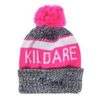 Caciula Beanie Official Kildare GAA pentru Femei gri alb roz