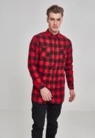 Camasa lunga barbati negru-rosu Urban Classics