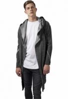 Cardigan lung asimetric cu gluga gri inchis Urban Classics