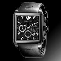 Ceas Emporio Armani Mod Chrono Square, Date, Ss Ip negru Case, negru Dial