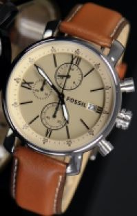 Ceas Fossil Mod Rhett Gent Chronograph din piele Strap Dark maro 5atm