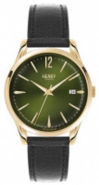 Ceas Henry London Mod Chiswick Quartz Ss Case Pvd Gold din piele Strap Data 39mm