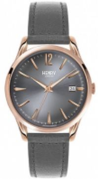 Ceas Henry London Mod Finchley Quartz Date Ss Case Pvd Rose Gold din piele Strap 39mm Wr10atm