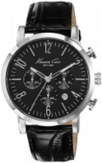 Ceas Kenneth Cole - Sport Gent Ss Chrono Crocodile Texture negru Strap Date 3 Atm 44mm