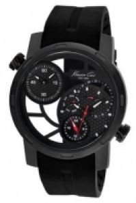 Ceas Kenneth Cole - Sport Gent Ss Multif Double Time Zone Ip negru negru Silicon Strap