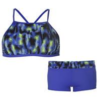 Costum de baie bikini Nike albastru cu inchidere la spate 2 Piece pentru Femei