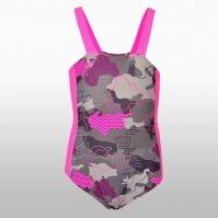 Costum de baie 4f roz cu gri cu imprimeu Fetite