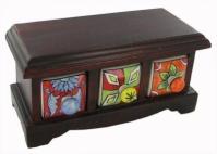 Cutie lucrata manual cu 3 sertare pentru bijuterii