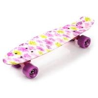 Skateboard METEOR multicolor colored flowers 23881