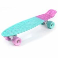 Placa skateboard METEOR plastic roz si bleu / alb 23999