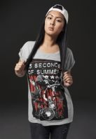 Tricou Five Seconds of Summer Longprint pentru Femei deschis-gri Merchcode