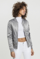 Geaca bomber aspect satin femei argintiu Urban Classics