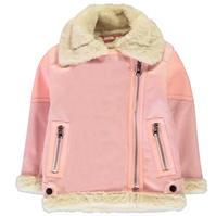 Jacheta pufoasa Sherpa Crafted Essentials roz pentru fete pentru copii