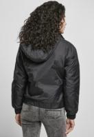 Geaca urban cu gluga si buzunare Panel pentru Femei negru Urban Classics