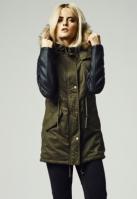Geci de iarna lungi cu maneci imitatie piele oliv-negru Urban Classics