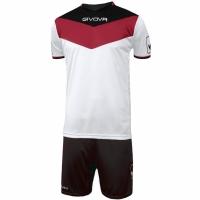 Set Givova kit echipament fotbal complet Campo , rosu and negru