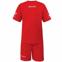 Set Givova kit echipament fotbal complet MC rosu