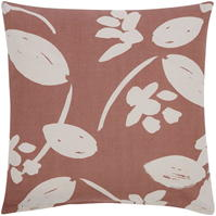 gri and Willow Astrid Linen Floral Cushion Rust