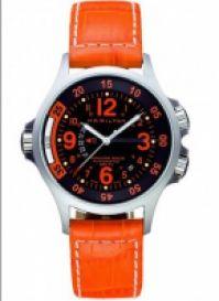 Ceas Hamilton - Khaki Navy Air Race - Blk & Orange Croco