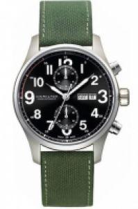 Ceas Hamilton - Khaki Officer A-c 44mm - Blk - verde Canvas