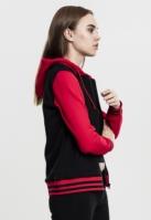 Hanorac dama cu fermoar tip college negru-rosu Urban Classics