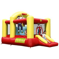 Happy Hop Multifunctional 14ft x 7ft Bouncy Castle cu Slide and Obstacle
