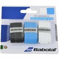 Set 3 WRAPPING BABOLAT MY OVERGRIP GOODRACKETGRIP & FUN alb, negru, albastru 139366