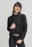 Jacheta imitatie piele intoarsa Bomber pentru Femei negru Urban Classics