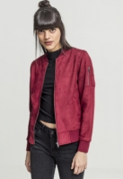 Jacheta imitatie piele intoarsa Bomber pentru Femei rosu burgundy Urban Classics