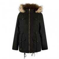 Jacheta Lee Cooper blana artificiala cu gluga cu doua fete pentru Femei