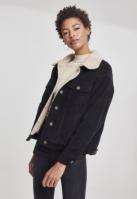 Jacheta lejer Sherpa Corduroy pentru Femei negru-bej Urban Classics