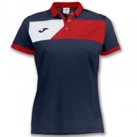 Tricouri polo Joma Crew II cu maneca scurta bleumarin-rosu pentru Femei