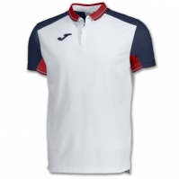 Tricouri polo Joma tenis alb-bleumarin cu maneca scurta