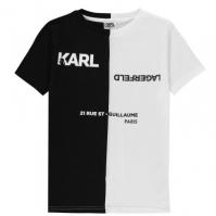 Tricou Karl Lagerfeld Colour Block pentru baietei alb negru n50