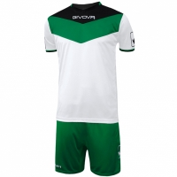 Set Givova kit echipament fotbal complet Campo in negru and alb and verde