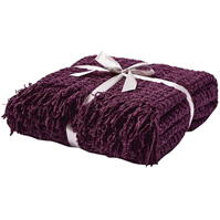 Linea Textured chenille throw, mov