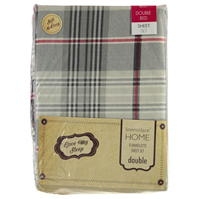 Set Linens and Lace Check Flannelette Sheet Bed