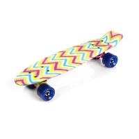 Skateboard METEOR multicolor zigzags 23878